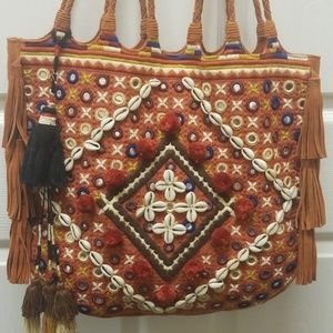 Free People Large Leather BOHO Bag w/ Tassles